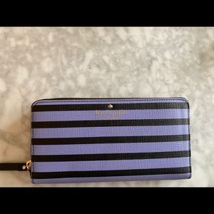 Kate Spade large purple and black leather wallet